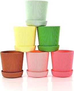 Truedays 4.5'' Set of 6 Multicolored Circle Flower Plant Pots/Planters with Saucer Pallet Decorative