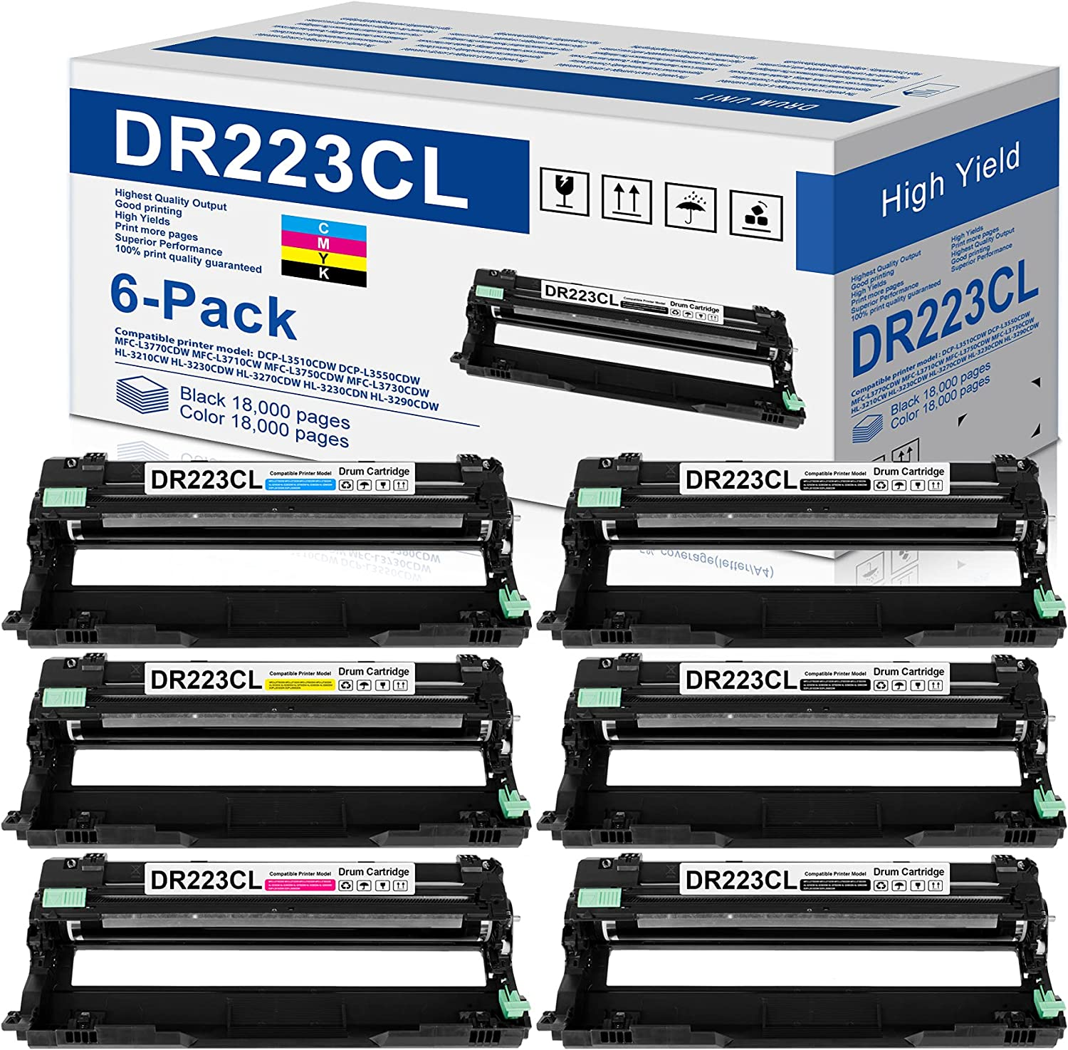 6-Pack(3BK+1C+1M+1Y) Compatible DR223CL Drum Unit Replacement for Brother DR-223CL DR223 Drum Works with Brother MFC-l3750CDW MFC-l3710CW HL-l3290CDW HL-l3270CDW HL-l3210CDW HL-L3230CDW Printer