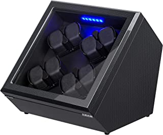 Watch Winder, [Newly Upgraded] Piano Finish Carbon Fiber Exterior and Soft Flexible Watch Pillows Automatic Watch Winder Box, 8 Winding Spaces with Built-in Illumination