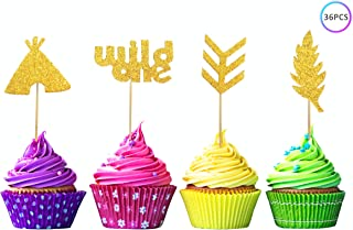 ZOIN 36 Pcs Wild one cupcake toppers Boho Tribal Arrow Feather Teepee for birthday theme Party Supplies Decoration with Double Sided Glitter Stock (Gold)
