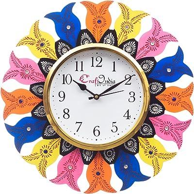eCraftIndia Analog Wall Clock(Yellow, Blue & Orange, with Glass)