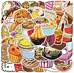 [FOCUS's Stickers]50Pcs Cute Cake Ice Cream Dessert Food Stickers for Laptop Cellphone Water Bottle Hydro Flask Skateboard Luggage Car Bumper, etc FJHSL