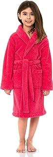 TowelSelections Big Girls' Robe, Kids Plush Shawl Fleece Bathrobe Size 12 Honeysuckle