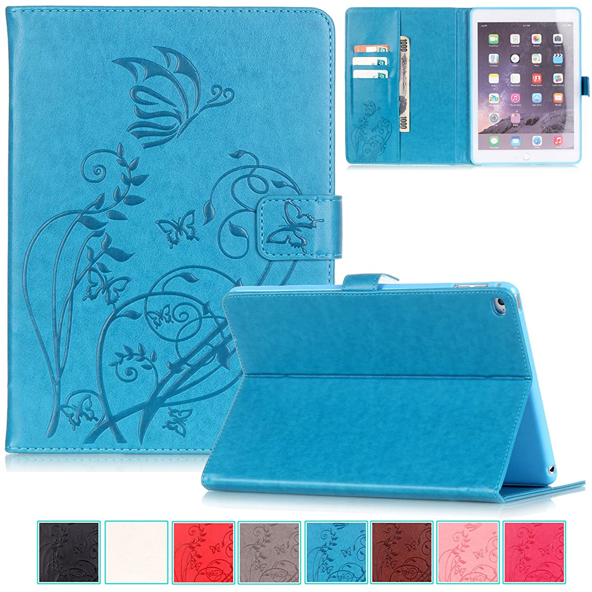 iPad Air 2 Case-UUcovers Embossed Synthetic Leather Butterfly Pure Color SeriesMagnetic ClosureCards/Cash Holder Cover for Apple iPad Air 2 (iPad 6) 9.7 Inch iOS 8 Tablet-Blue