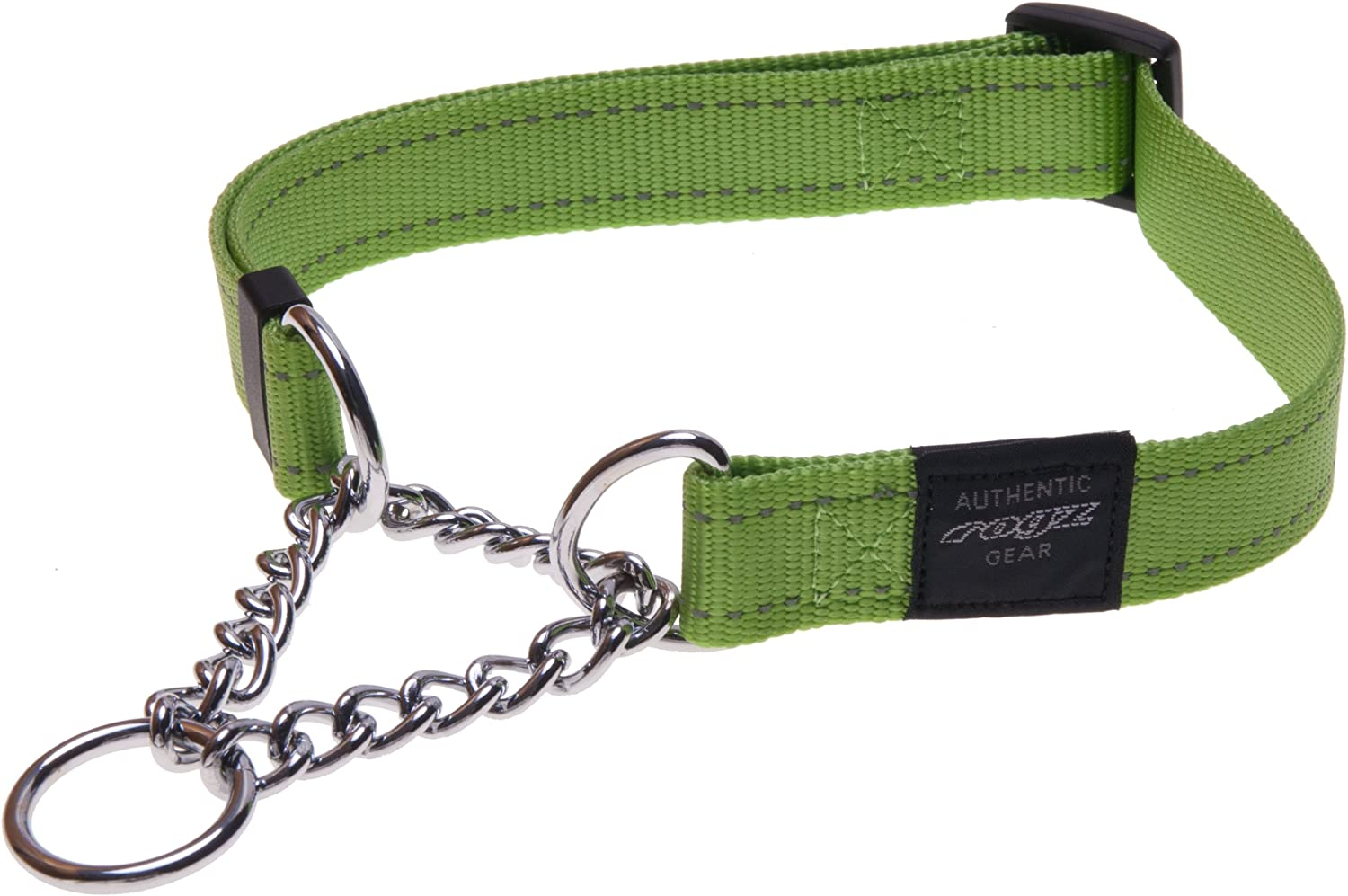 Reflective Nylon Choke Collar; Slip Show Obedience Training Gentle Choker for Extra Large Dogs, Green