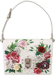 Bolso Lucia de cuero blanco con cristales rosas