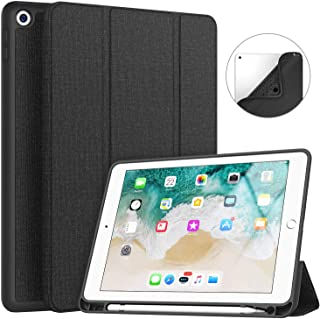 Soke New Ipad 9.7 2018/2017 Case With Pencil Holder, Slim Fit Smart Ipad Case Trifold Stand With Shockproof Soft Tpu Back ...