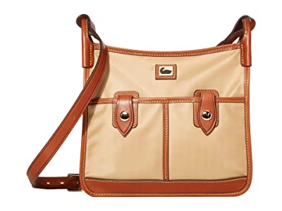 Dooney & Bourke Camden Double Pocket Crossbody (Natural/Dark Chocolate Trim) Cross Body Handbags