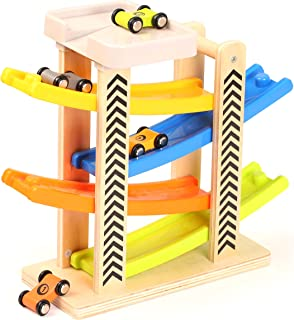 TOWO Wooden Car Ramp Toy- Zig Zag Car Slide with 4 Wooden Cars & Roof Top Car Park Playsets-Click Clack Track Wooden Car T...