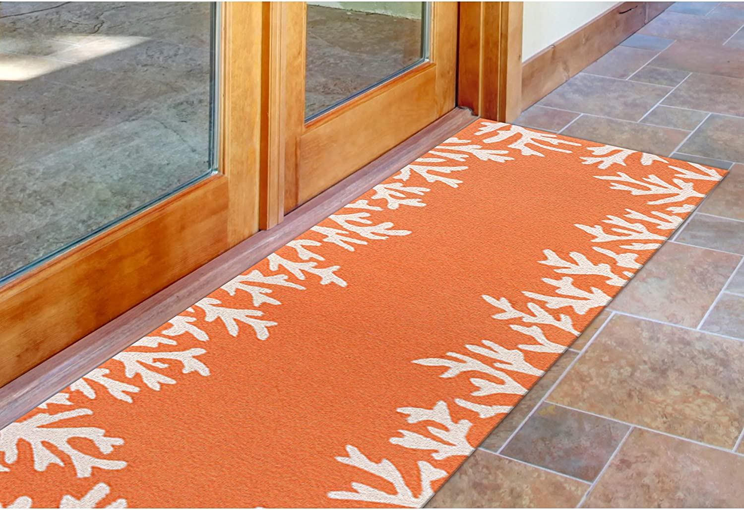 Liora Manne Monaco Shell Border Rug Indoor Outdoor 24 by 8' Coral