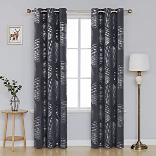 Deconovo Decorative Blackout Curtains Foil Pattern Thermal Insulated Curtains Grommet Top..