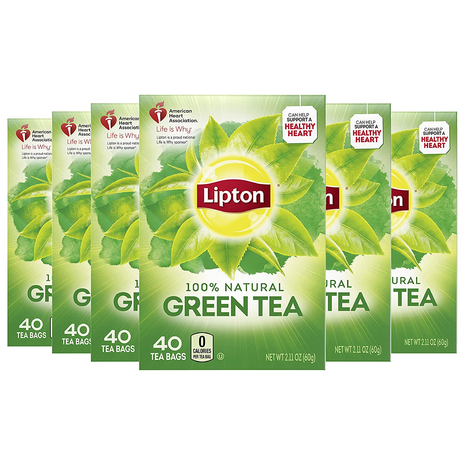 Lipton Tea Bags 100% Natural Green Help shipfree a Can 5 ☆ very popular Support Health