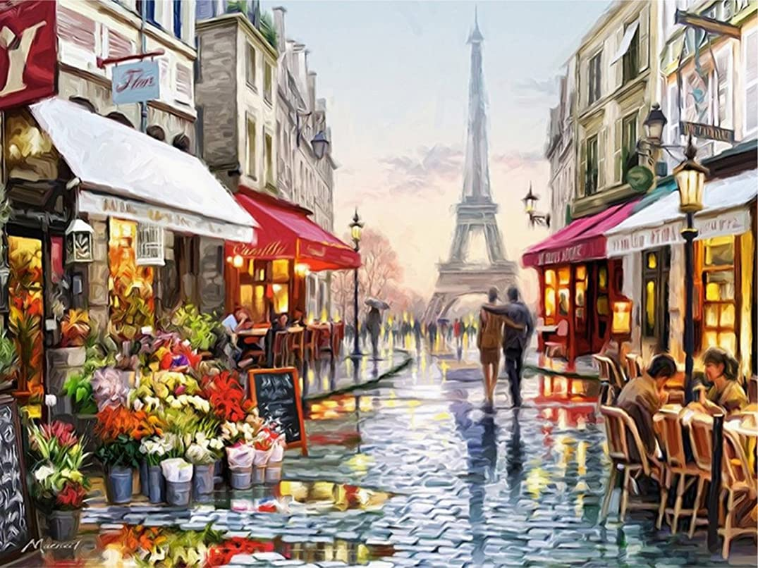 DIY Oil Painting Newsight Paintworks Paint by Number for Kids and Adults (Romantic Paris Street Eiffel Tower) (with Framed)