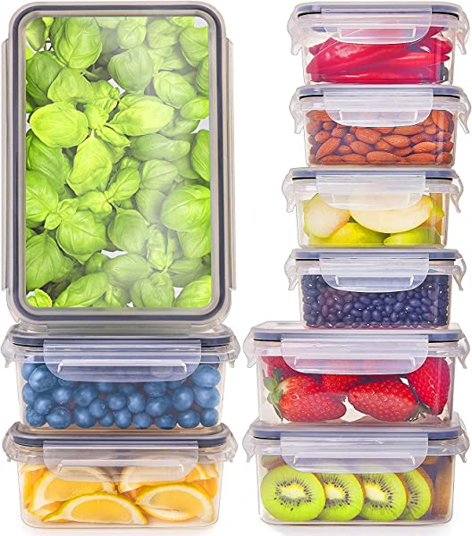 Fullstar 9 Pack Food Storage Containers With Lids Plastic Food Containers With Lids Plastic Containers With Lids BPA Free Leftover Food Containers Airtight Leak Proof Food Container