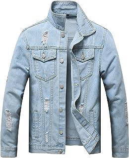 DELIMALI Men Denim Jacket Hole Ripped Men Coat Moto Biker Men Jeans Jacket Pockets Chaquetas Hombre Washed Jeans Bomber Ja...