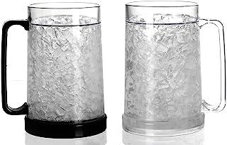 Double Wall Gel Frosty Freezer Ice Mugs Clear 16oz Set of 2