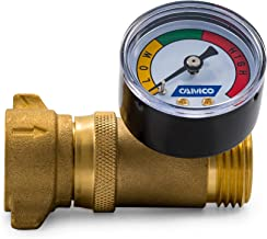 Camco Brass Water Pressure Regulator with Gauge- Helps Protect RV Plumbing and Hoses from High-Pressure City Water - Easy Read Gauge, Lead Free (40064)