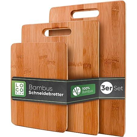 Loco Bird Planches à découper en bambou massif jeu de 3-33x22 / 28x22 / 15x22cm - Planche à découper de cuisine en bois - Planche à découper antibactérienne en bois