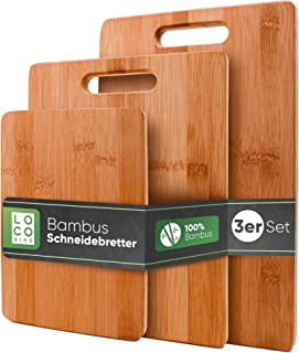 Loco Bird massieve bamboe snijplanken set van 3-33x22 / 28x22 / 15x22cm - Houten keuken snijplank - Houten antibacteriële ...