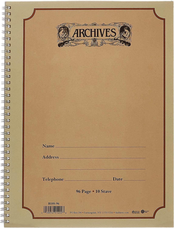 D'Addario B10S-96 Cuaderno Pentagramado Archives Anillado