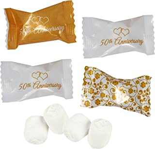 Gift Boutique 50th Anniversary Wedding Buttermints Candies Bags 100 Count Mint Candy 14 Ounce (396g) Bag Goodie Treat Sweets Buttercream Two Hearts Themed Party Favor Supplies Decorations For Adults