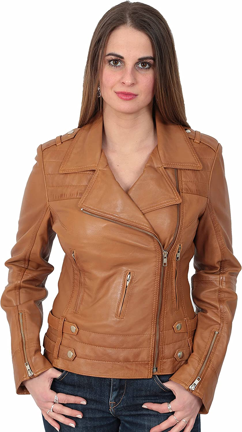 A1 FASHION GOODS Latest Young Ladies Fitted Leather Biker XZip Jacket Beverly Tan