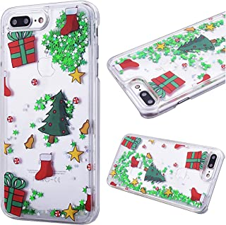 iPhone 7 Plus Case 5.5 inch, CinoCase 3D Creative Liquid Case [Christmas Collection] Quicksand Moving Stars Bling Glitter Snowflake Christmas Tree Santa Claus Hard PC Case for iPhone 7 8 Plus (tree)