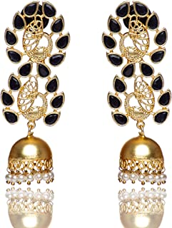 Frosted Jewelry Peacock Black Stone Jhumka