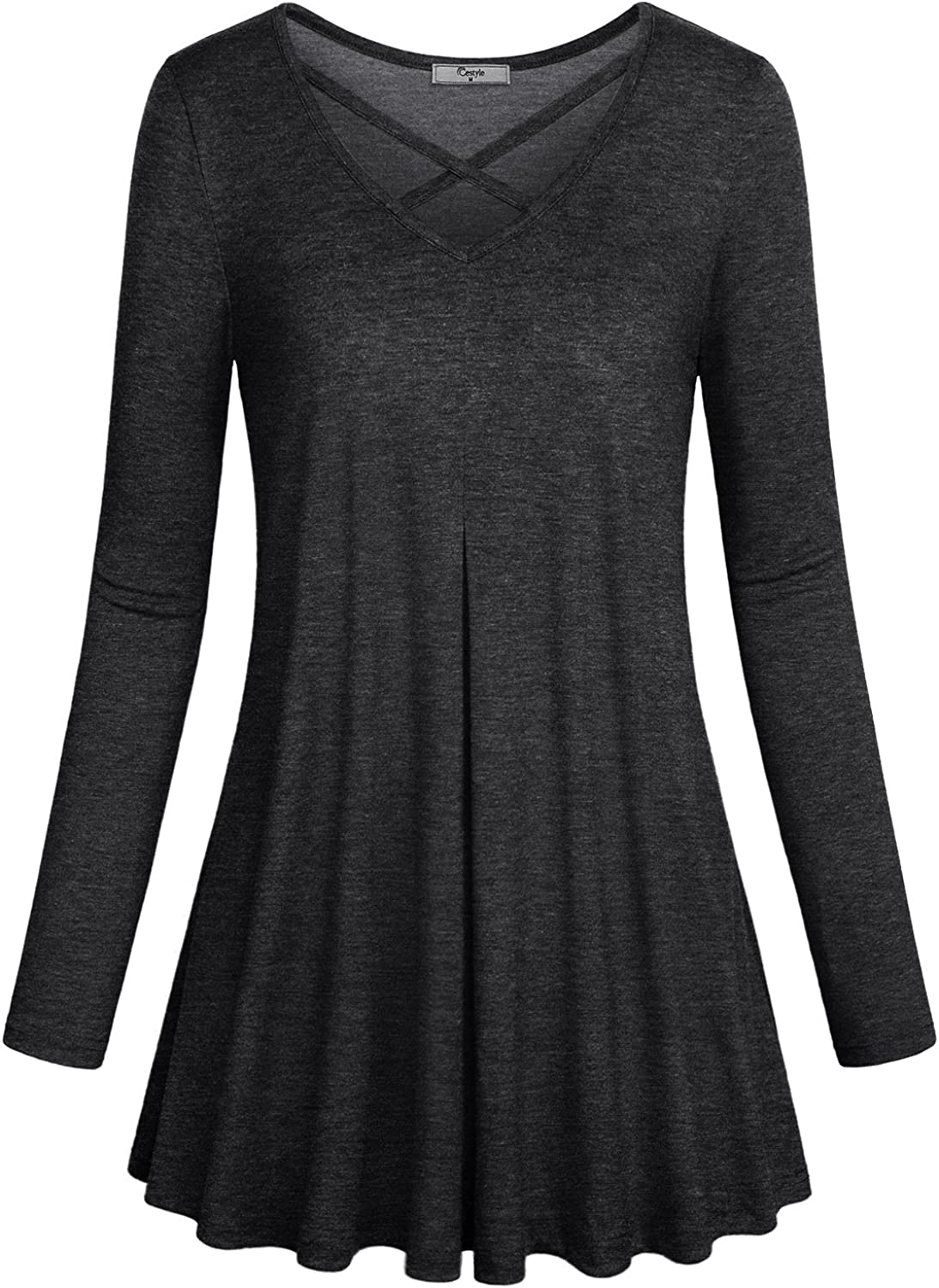 Cestyle Womens Casual Basic Long Sleeve Flare Tunic Tops