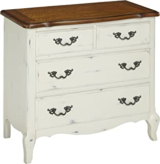 Home Styles French Countryside White and Oak Finished Four Storage Drawers Constructed from Hardwood Solids with Oak Veneers with Detailed Brass Hardware