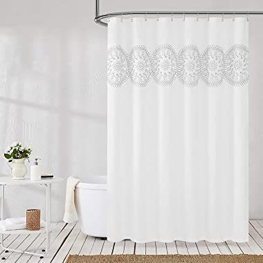 Jubilantex Grey and White Embroidered Shower Curtain Fabric for Bathroom, Farmhouse Boho Floral Rustic Chic Decorative Waterp