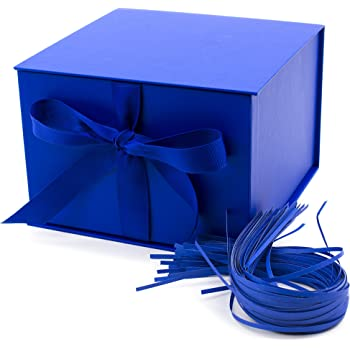 "Hallmark 7"" Gift Box with Lid and Paper Fill (Dark Blue) for Christmas, Hanukkah, Father's Day, Birthdays, Baby Showers and Graduations"