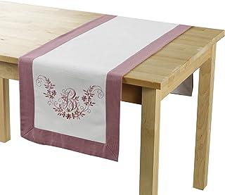 douceur d'intérieur Bonheur Chemin de Table, Polyester, Rose/Blanc, 40x140 cm