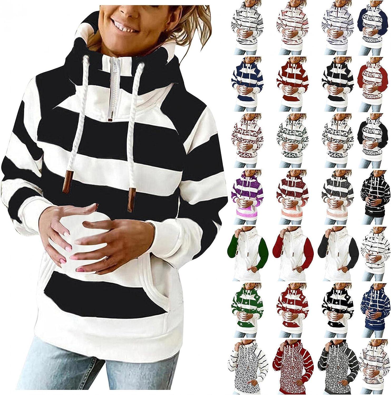 UUJUNE Women's Stripe Hooded Sweatshirt Drawstring Lightweight Pullover Hoodie Casual Long Sleeve Tops with Zipper Pockets