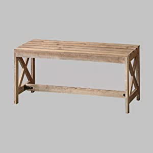 The Lakeside Collection Outdoor Wood Slat Bench with Distressed Finish - Rustic Brown