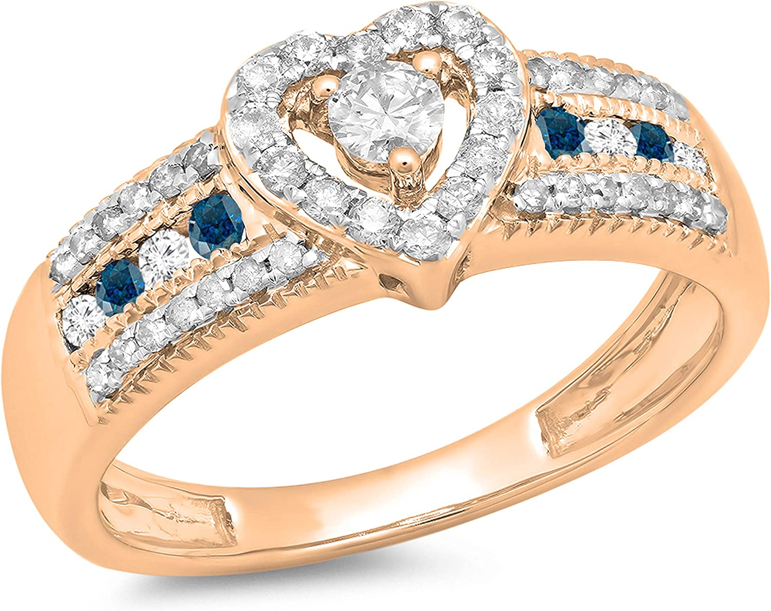 Dazzlingrock Collection 0.55 Carat (ctw) Round Blue & White Diamond Bridal Heart Shaped Promise Engagement Ring 1/2 CT, 10K Gold