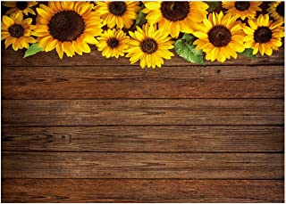 WOLADA 8x6ft Sunflower Wood Backdrops Brown Wood Flowers Newborn Baby Birthday Party Photography Backdrop Small Cosmetics Makeup Jewelry Food Cake Professional Decor Banner Photo Studio Prop 11606