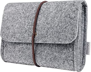 Inateck Felt Storage Pouch Bag Case for Accessory (Mouse, Cellphone, Cables, SSD, HDD Enclosure, Power Bank and More) - Light Gray