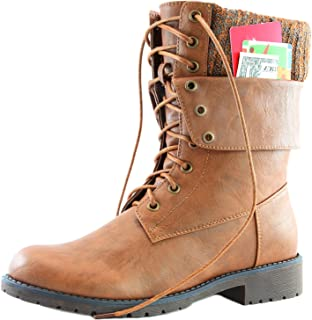 DailyShoes Womens Military Up Buckle Combat Boots Ankle Mid Calf Fold-Down Exclusive Credit Card Pocket
