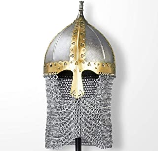 Queen Armour Medieval Russian Boyar Functional Helmet with Chainmail with Liner Silver