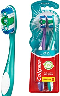 Colgate 360° Whole Mouth Clean Manual Toothbrush, Value 2 Pack, Medium Bristles, 25% Recycled Plastic Handle with Cheek and Tongue Cleaner