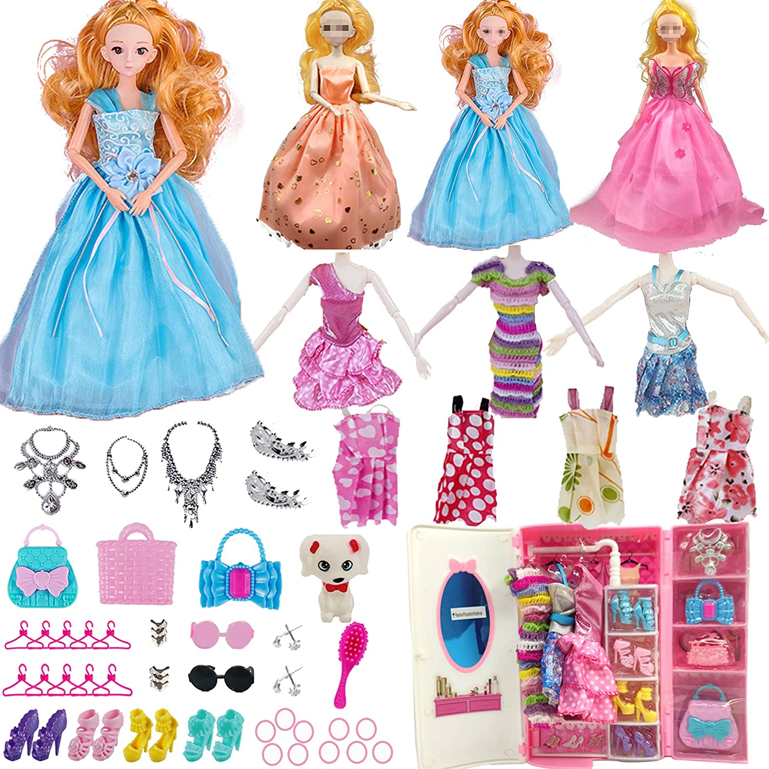 54 Pieces Princess Dolls Accessories Set Gift for Minneapolis Mall ye 3 Large discharge sale 7 4 5 8 6