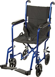 Drive Medical Deluxe Lightweight Aluminum Transport Wheelchair, Blue, 17