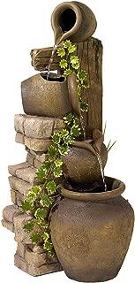 John Timberland Rustic Floor Water Fountain Three Jugs Cascading 33