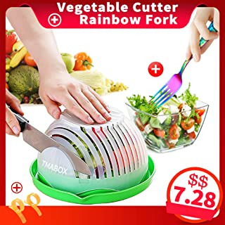 Salad Cutter Bowl,Fruit Vegetable Salad Chopper Bowl,Rainbow Fork Cutlery,Upgraded Easy Salad Make,FDA-Approved Kitchen Tools