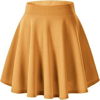 4dfb770de9 Urban CoCo Women's Basic Solid Versatile Stretchy Flared Casual Mini Skater  Skirt