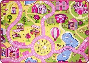 "Funfair Pink Colourful Kids Town City Roads Childrens Floor Play Area Rug Mat 3'1"" x 4'4"" (95cm x 133cm)"