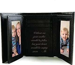 Personalized Black Leather Tri-fold Wallet Engraved Free