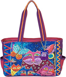 Laurel Burch Medium Tote, 15 by 4 by 10-Inch, Cats with Butterflies