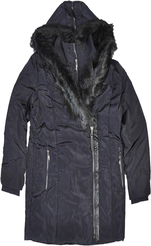 Tribal Women's Fashion Icon Long Puffer Coat with Faux Fur Trim